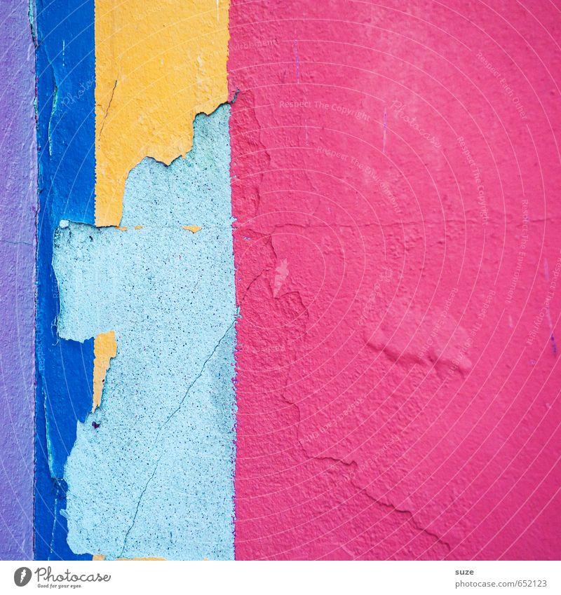 Firebug Lifestyle Stil Design Kunst Mauer Wand Fassade Linie Streifen eckig einfach kaputt blau gelb violett rosa rot Kreativität Verfall Vergangenheit