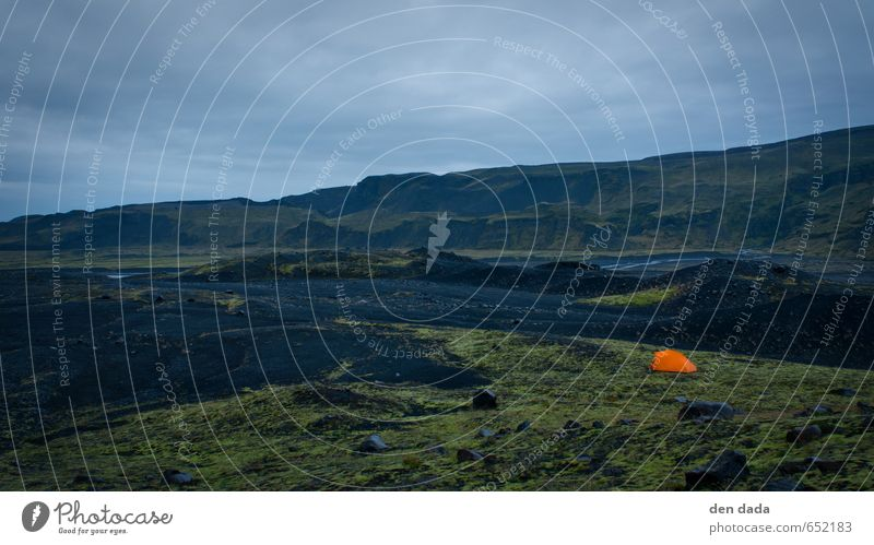 Camp at Eyjafjallajökull glacier Iceland Ferien & Urlaub & Reisen blau ruhig Ferne schwarz Berge u. Gebirge Freiheit Glück Idylle wandern gefährlich bedrohlich