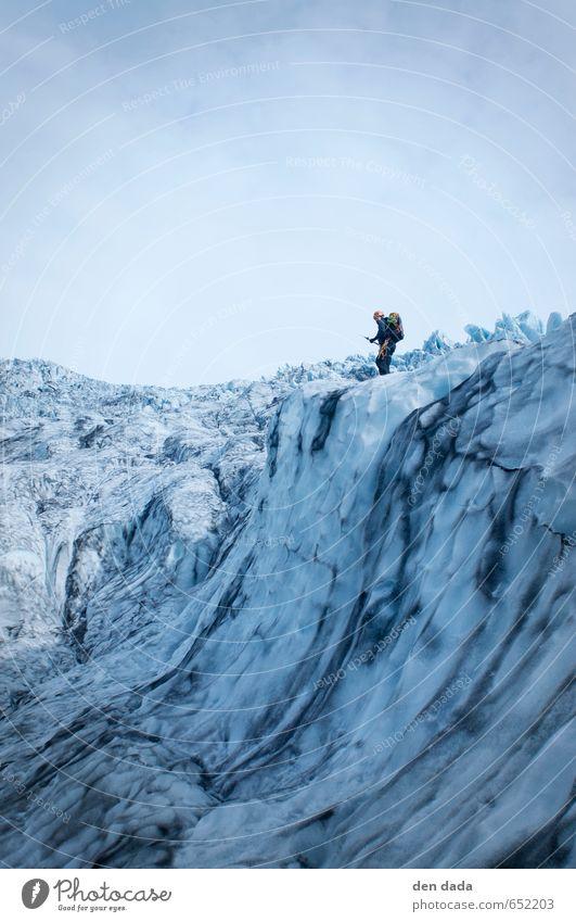 Ice climbing Vatnajökull Nationalpark Iceland Mensch blau weiß Landschaft ruhig Winter Erwachsene Gefühle Schnee Sport außergewöhnlich Eis Kraft Europa verrückt beobachten