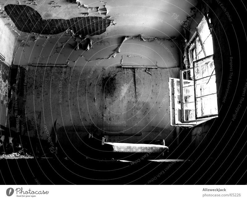 Der Morgen danach verwüstet Armut Leerstand unordentlich Raum verfallen kaputt dreckig beschmiert Fenster zerschlagen offen hell Tapete scheckig Loch Sonne