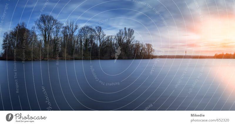 Wannsee Insel Landschaft Wasser Wolken Sonne Sonnenaufgang Sonnenuntergang Schönes Wetter Baum Flussufer Warmherzigkeit Langzeitbelichtung river Seeufer Havel