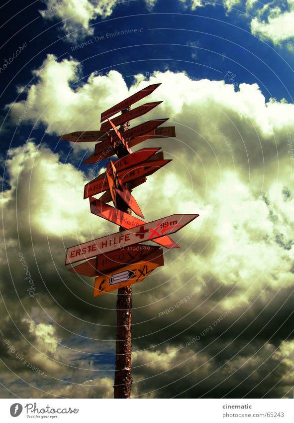 Orientierungslos Schilder & Markierungen Leitsystem Holz Baumrinde Information Wolken Sommer Sonne Erste Hilfe Lärz Himmel Hinweisschild Buchstaben