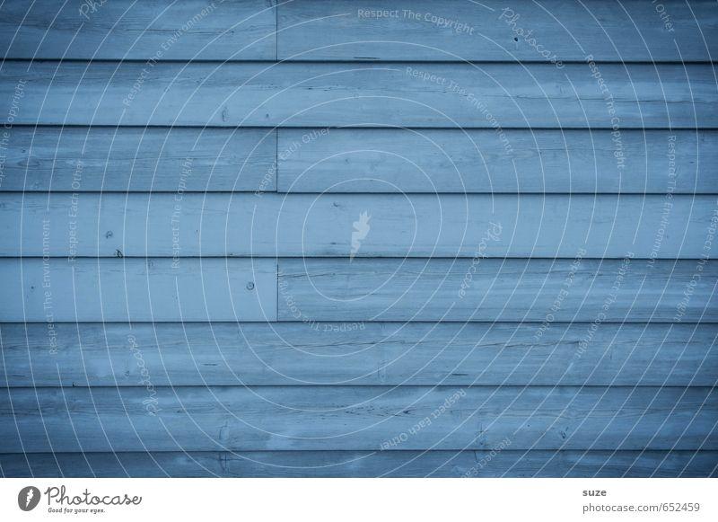 Eintönig breit machen Mauer Wand Fassade Holz Linie Streifen authentisch einfach kalt trocken blau Farbe Zaun Holzbrett Hintergrundbild Holzwand graphisch trist