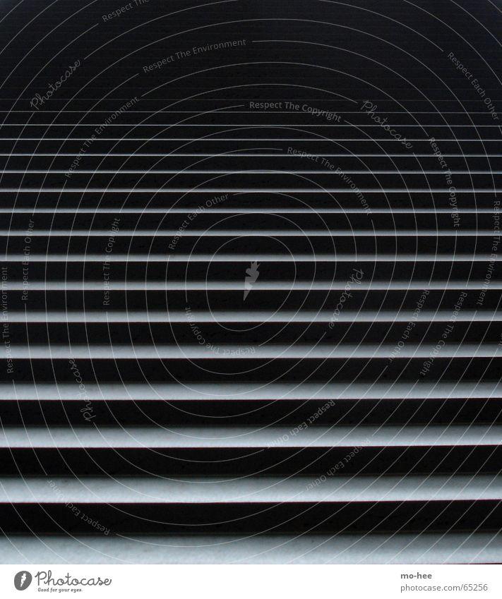 Ascende schwarz Skulptur aufsteigen Linie Treppe Lamelle Schwarzweißfoto