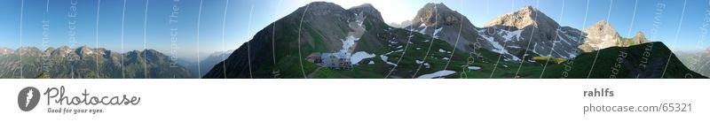 Rappenseehütte Sonnenaufgang Allgäuer Alpen Bergkamm Panorama (Aussicht) Bergwiese Wiese Hütte Berge u. Gebirge schneefelder Himmel rappenseehütte dav