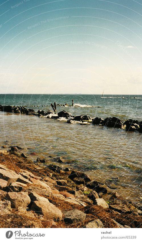 Meerweh Strand Ferien & Urlaub & Reisen ruhig Erholung Freiheit Stein Wellen Küste Horizont Felsen Tourismus Schifffahrt Ostsee Schönes Wetter Fernweh