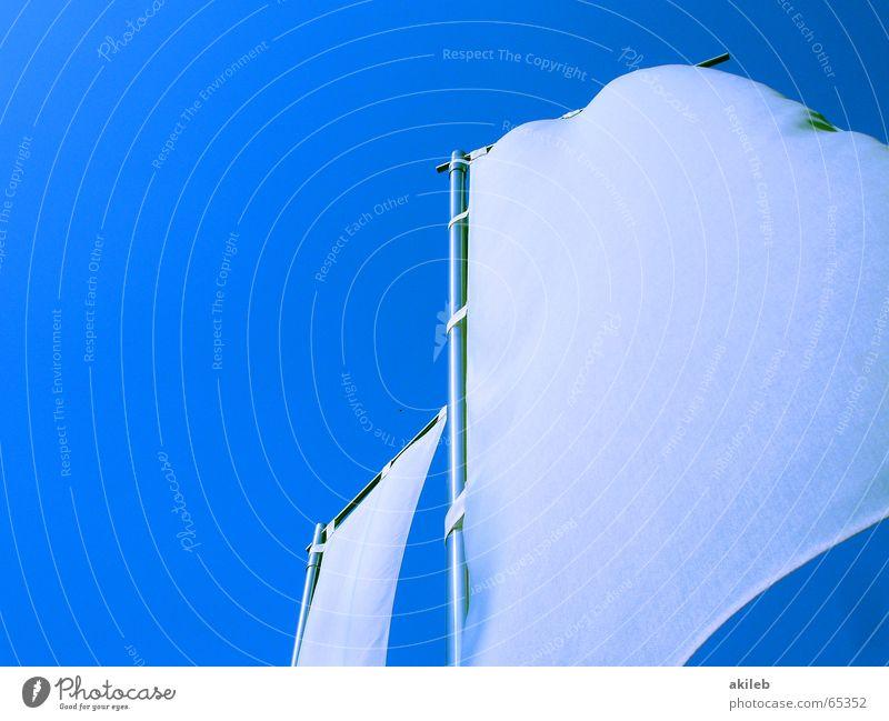 hier könnte ihre werbung stehen ;-) Himmel weiß blau Freiheit hell Wind leer Fahne Werbung Stoff Griechenland Tuch kahl neutral