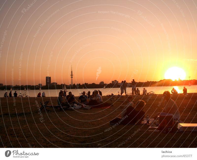 Alsterlicht Außenalster Sonnenuntergang Sommer Sonnenaufgang rot Erholung Feierabend Ferien & Urlaub & Reisen Wiese Segeln Segelboot Morgen Ferne Sonnenbad