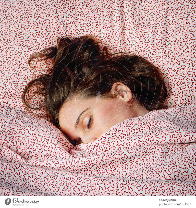 Dreaming Junge Frau Jugendliche Kopf Haare & Frisuren 1 Mensch 30-45 Jahre Erwachsene Erholung genießen außergewöhnlich Glück feminin weich rosa weiß Vertrauen