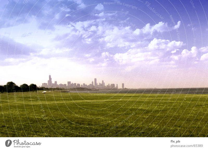 Chicago Skyline South Himmel Stadt USA Frieden Vertrauen Skyline Filmindustrie Chicago Endzeitstimmung Lake Michigan