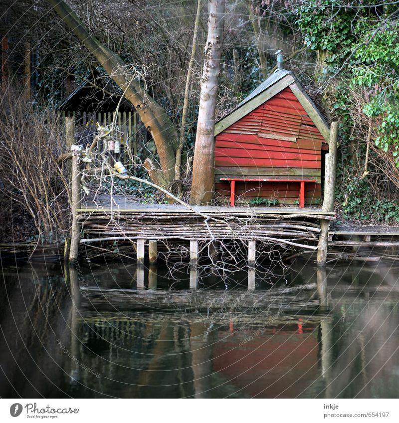 Am Ufer des Flusses, hinter den Feldern der Stadt,da lebte einst Umwelt Natur Herbst Baum Sträucher Wald Flussufer Menschenleer Haus Hütte Steg Bootshaus