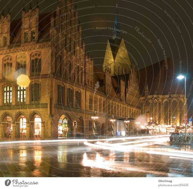 Hannover Marktkirche Nacht dunkel Licht Geschwindigkeit Außenaufnahme Langzeitbelichtung hell marktkirche Religion & Glaube Altes Rathaus