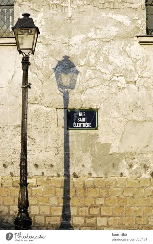 rue irgendwas Straße Lampe Wand Paris Laterne Frankreich Mond Glühbirne