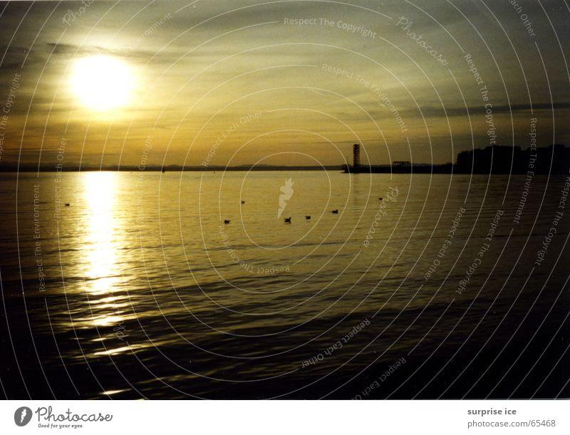 sonnenuntergang Natur ruhig See Romantik Kitsch Sonnenuntergang