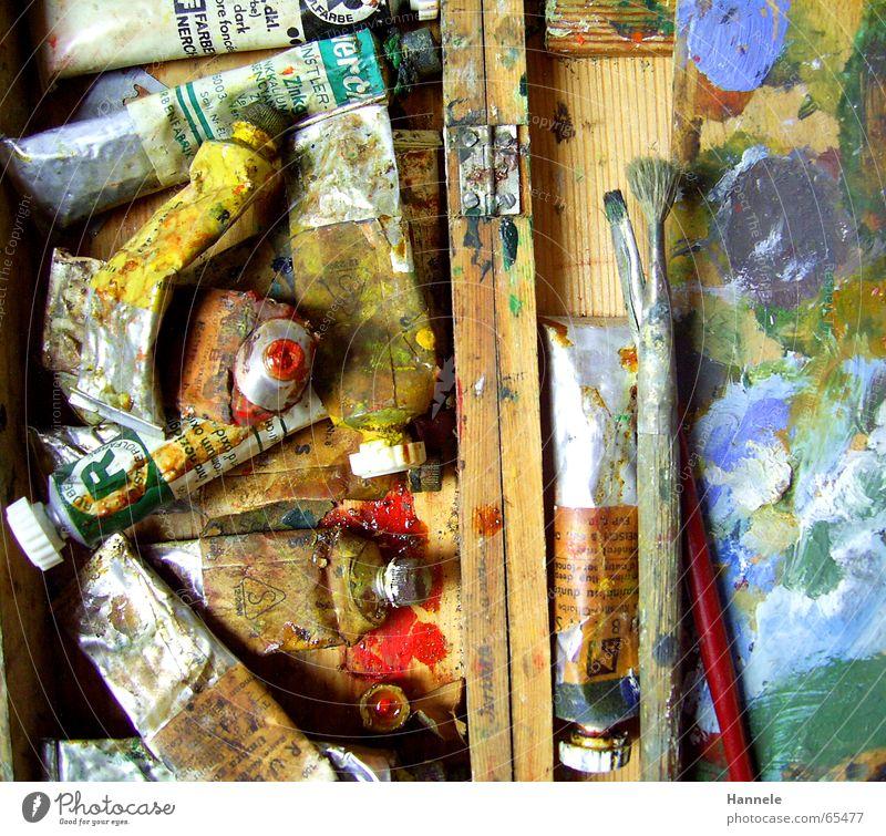 opas alte farben 8 Ölfarbe mehrfarbig Holz Farbkasten Kunst gebraucht Gemälde Farbe Erdöl London Underground coluor Kasten streichen terpentin