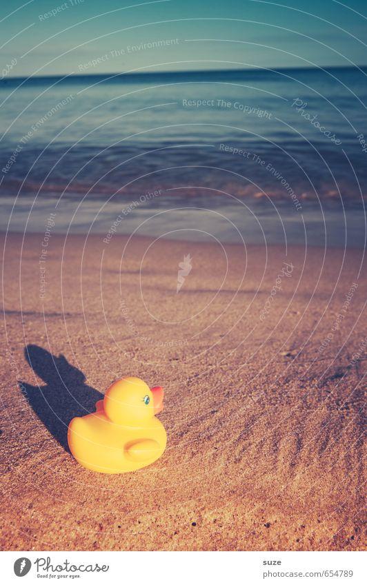 Große Entdeckung Ferien & Urlaub & Reisen blau schön Sommer Meer Einsamkeit Freude Strand gelb Küste lustig Spielen klein Sand braun Freizeit & Hobby