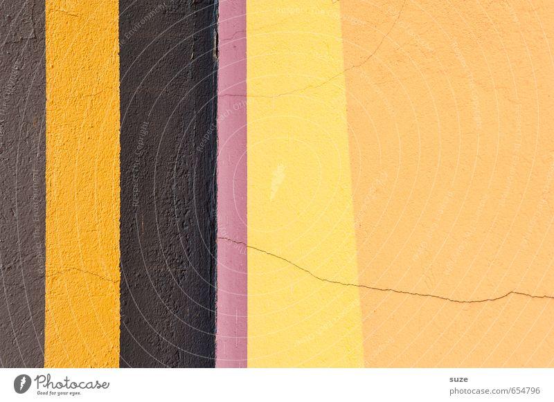 Hoch im Quer Stil Design Mauer Wand Fassade Linie Streifen einfach braun gelb violett Farbe Ordnung Hintergrundbild Geometrie Grafik u. Illustration graphisch