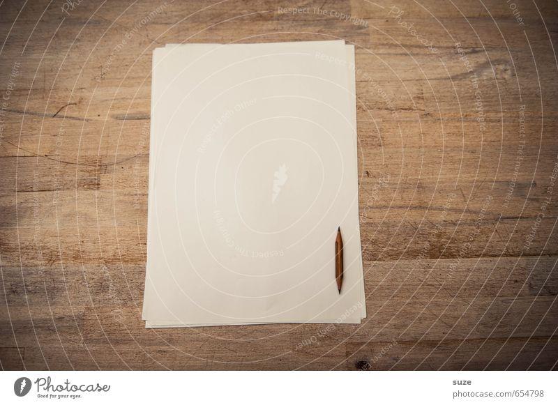 Weißes Papier ... Stil klein braun Schule Arbeit & Erwerbstätigkeit Freizeit & Hobby Business Lifestyle Büro Design Spitze einfach Kreativität Tisch Studium Grafik u. Illustration