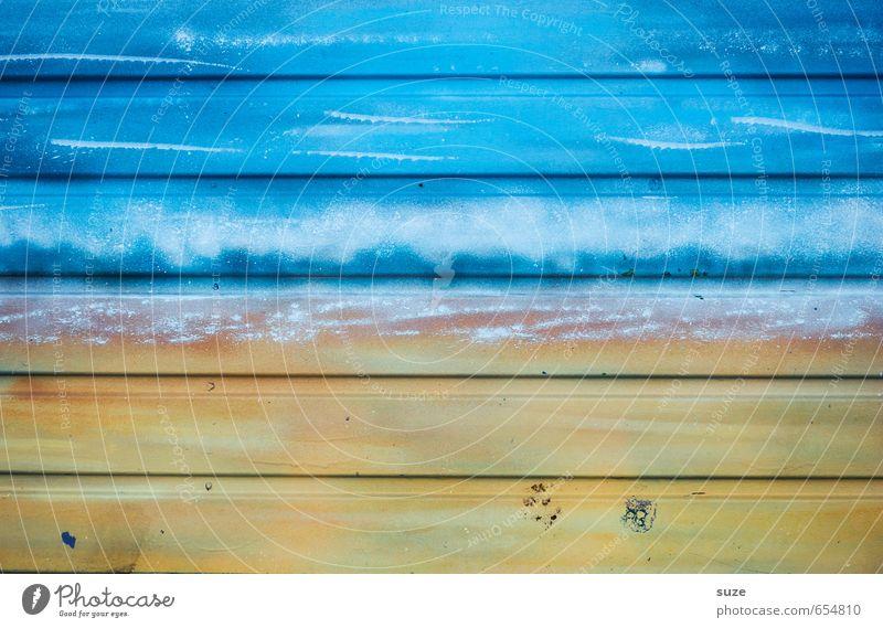 Halbe Sachen | Halb Meer, halb Strand Mauer Wand Fassade Holz Zeichen Linie Streifen alt einfach trocken blau gelb Farbe Holzbrett Hintergrundbild Holzwand