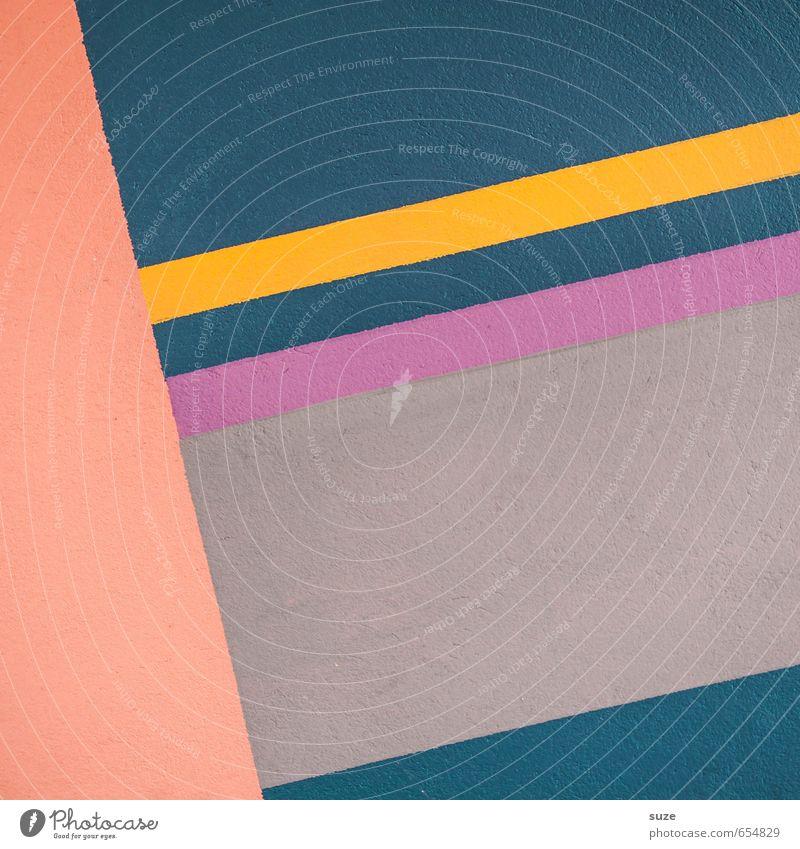 Graphic 1.5 blau gelb Wand Mauer Stil Linie Kunst Hintergrundbild rosa Fassade orange Lifestyle Design Ordnung modern einfach