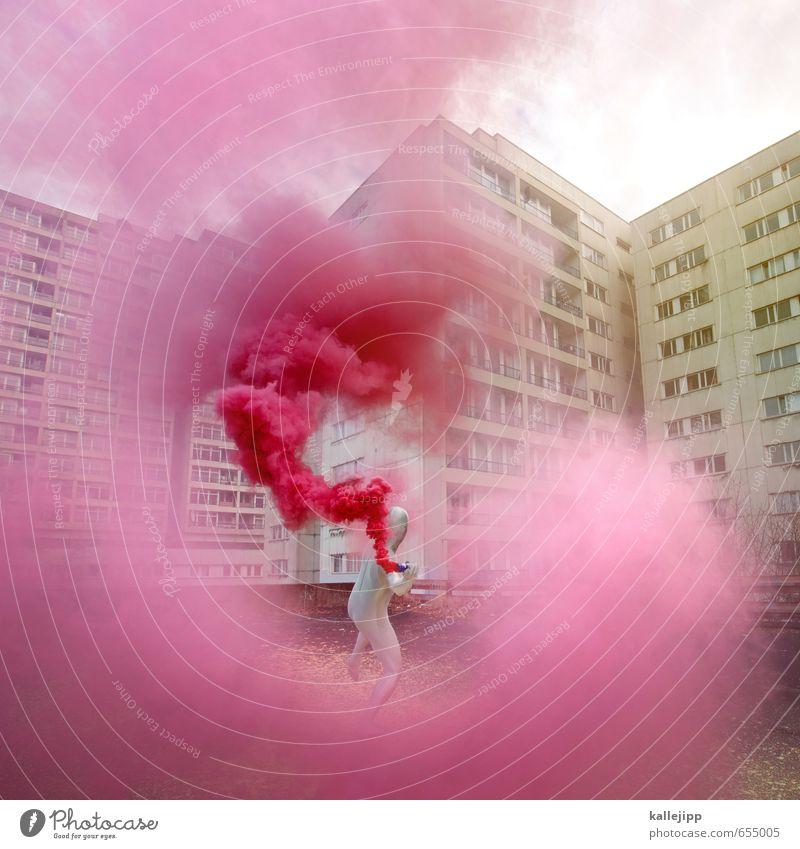 colour my life Mensch maskulin Mann Erwachsene Körper 1 Kunst Kultur Stadt werfen Häusliches Leben Beton grau rosa Revolution Farbstoff Demonstration färben