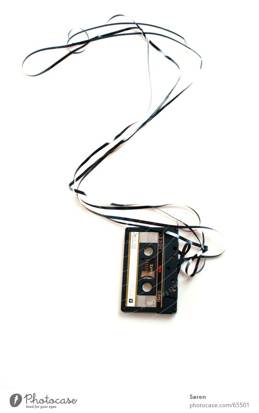 Fragezeichen Tod Ende hören Symbole & Metaphern Musikkassette Magnet Bandsalat Tonträger Hörspiel