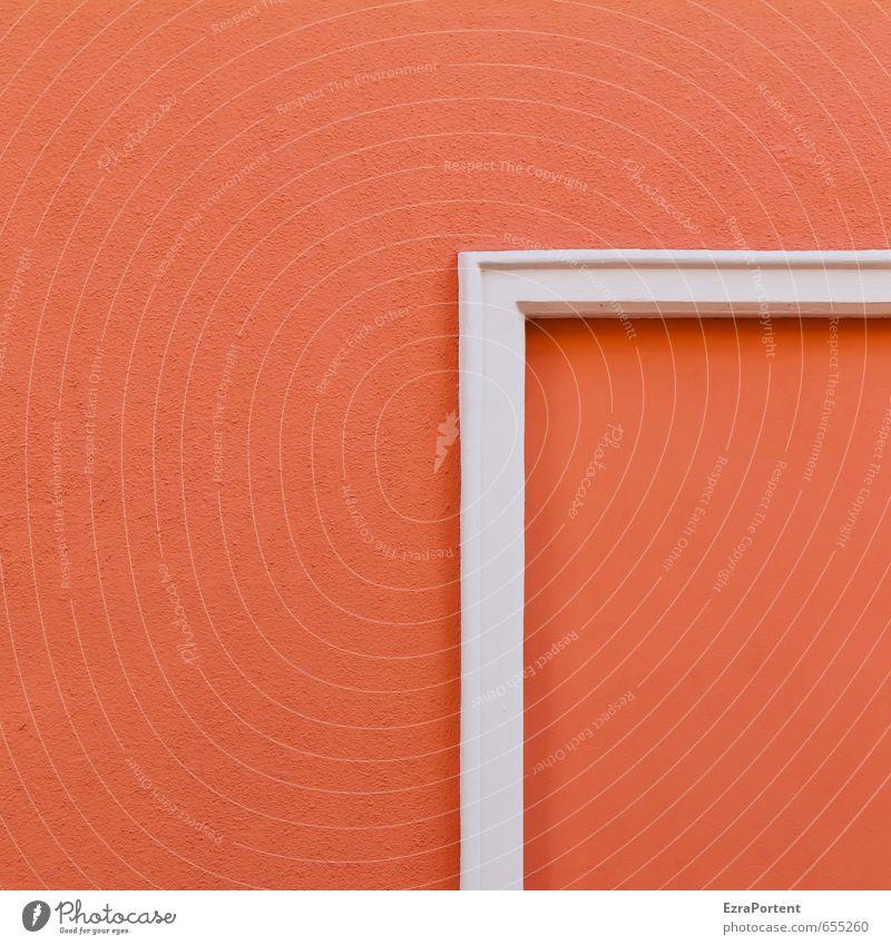 aus`m Rahmen Kunst Haus Bauwerk Gebäude Mauer Wand Fassade Linie ästhetisch eckig schön orange rot weiß Klarheit Design Anschnitt Spitze Farbfoto Außenaufnahme