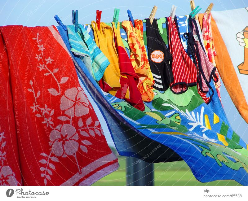 Wasser Stoff Sommer Freude Wind nass feucht trocknen Handtuch Wäscheleine Badehose Badeanzug mehrfarbig Wäscheklammern
