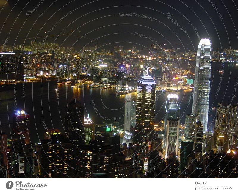 Hong Kong Skyline Hongkong Hochhaus Abend China Asien Nacht Himmel peak Freiheit Licht Stadt