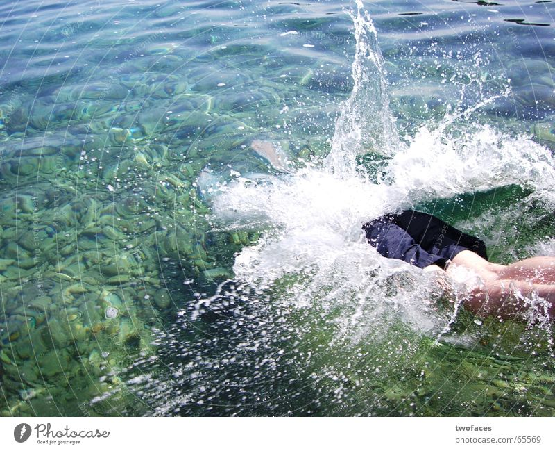 """aquatically """"im Wasser lebend"""" springen Meer Badehose Mann Kopfsprung tauchen spritzend sprung ins wasser alltag raus wasser rein Schwimmen & Baden"""