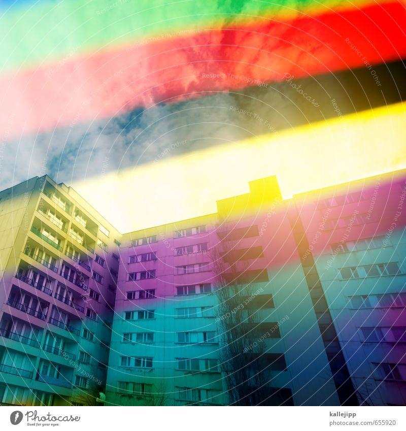 platten cover Stadt Hauptstadt Haus Hochhaus Bauwerk Gebäude Architektur Fassade Balkon Häusliches Leben Plattenbau Bewohner Folie schwarz rot gelb grün