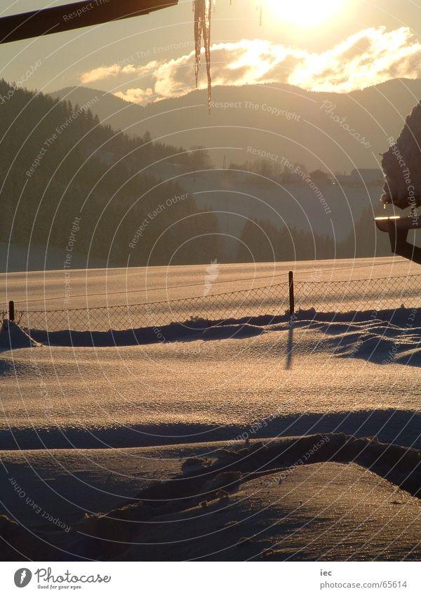 Sonnenuntergang im Schnee Winter kalt Dezember snow Amerika zöbriach aflenz thörl
