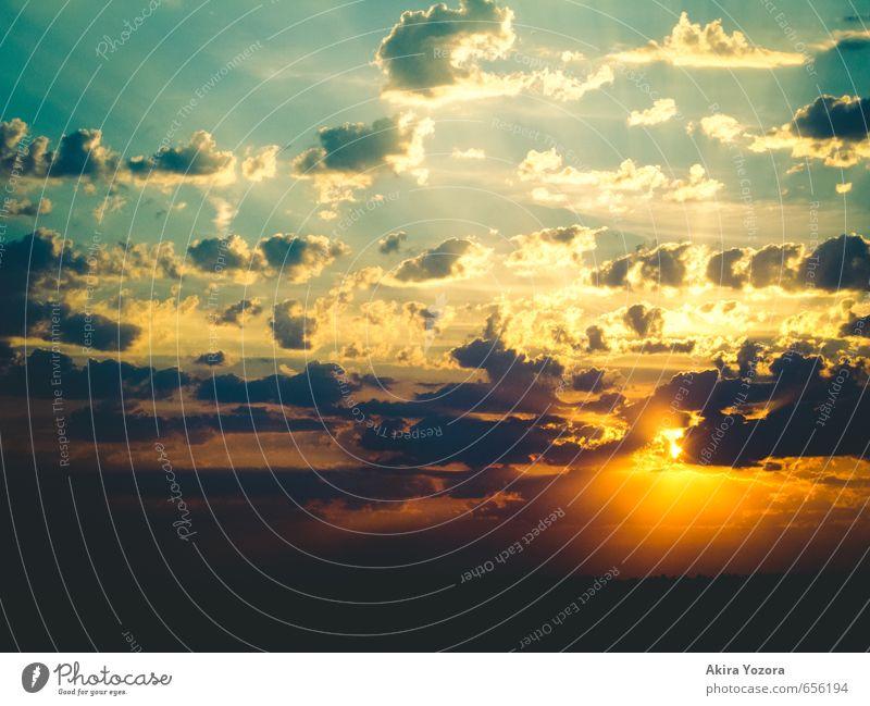 Powerful Shining II Natur Himmel Wolken Sonne Sonnenaufgang Sonnenuntergang berühren leuchten blau gelb orange schwarz Stimmung Romantik Hoffnung Glaube