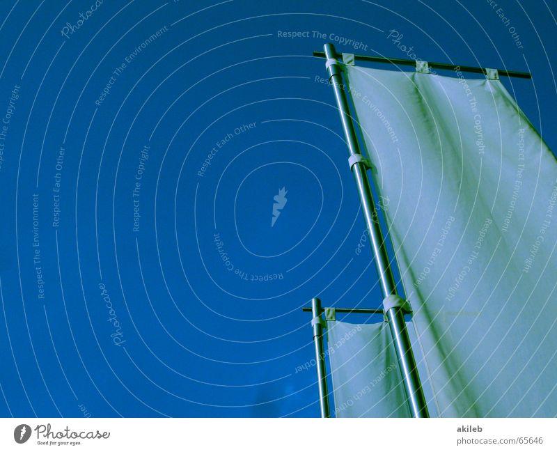 alle machen werbung, nur wir nicht Himmel weiß blau ruhig Freiheit hell Metall Wind leer Fahne Werbung Stoff Segel Griechenland Tuch kahl