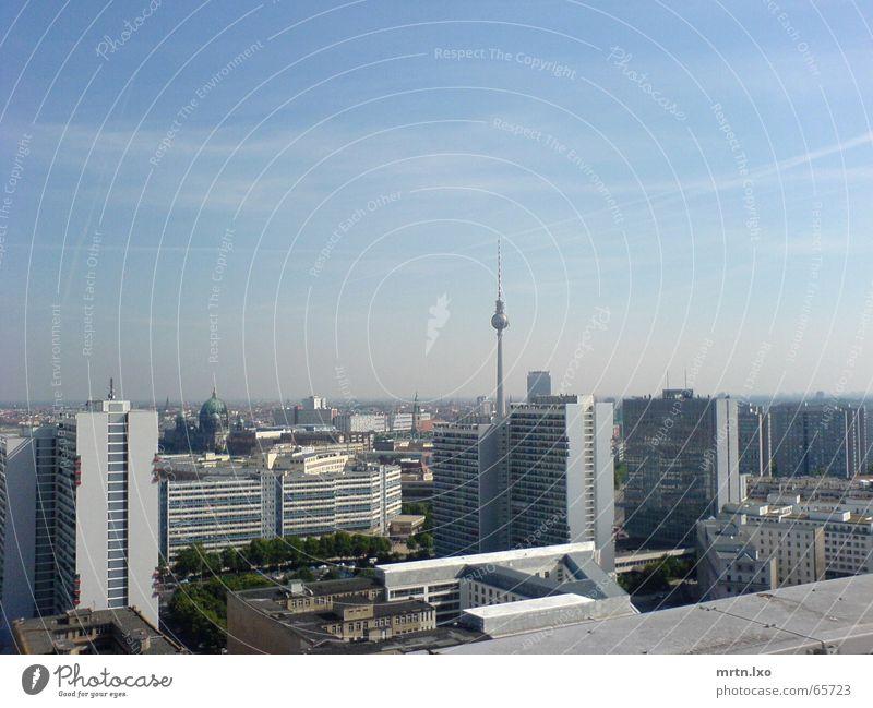 Herausragend. Stadt Hochhaus Palast der Republik Wohnhochhaus Sommer Sonne Klarer Himmel Smog Horizont Berlin Berliner Fernsehturm Skyline U-Bahn Plattenbau