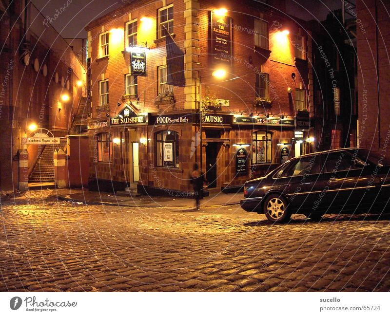 Manchester Pub Haus Straße dunkel Gebäude Bar Stillleben England Gasse Pub Nachtleben Nachtaufnahme Leben Manchester Seitenstraße
