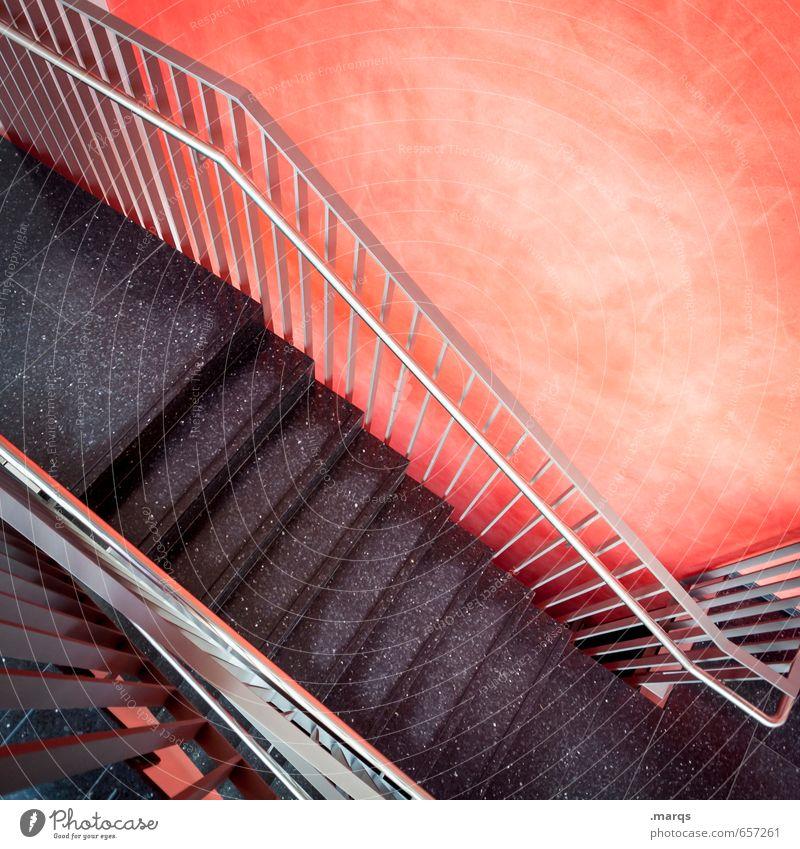 Down Stil Innenarchitektur Mauer Wand Treppe Treppenhaus Treppengeländer modern rot schwarz Abstieg abwärts Farbfoto Innenaufnahme Menschenleer