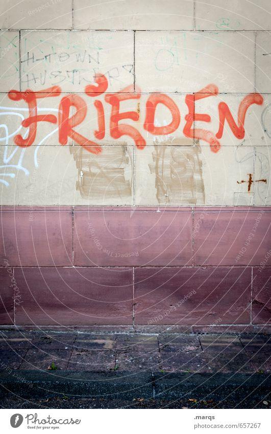 FRIEDEN rot Wand Graffiti Mauer Stil Freiheit Stimmung Lifestyle dreckig Zufriedenheit Schriftzeichen einfach Kommunizieren Hoffnung Frieden Beratung