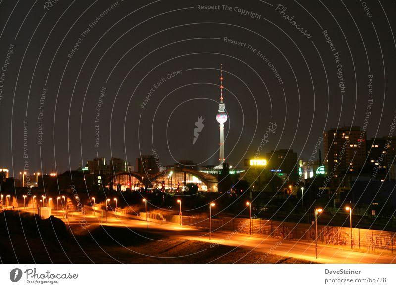 Warschauer Brücke Himmel Stadt Sommer Straße dunkel Berlin Mitte Laterne Berliner Fernsehturm Friedrichshain Abendsonne Sommerabend