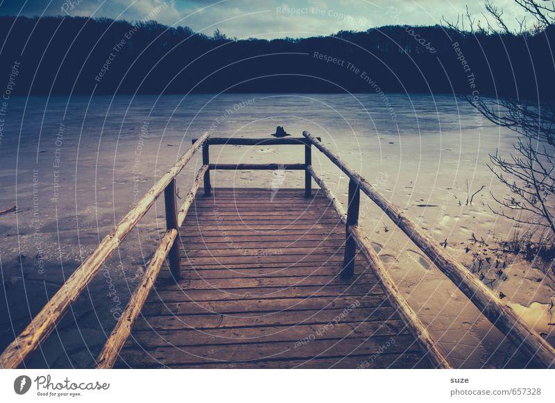 Ende Gelände ruhig Meditation Umwelt Natur Landschaft Urelemente Wasser Himmel Wolken Horizont Klima Eis Frost Küste Seeufer Ostsee Wege & Pfade außergewöhnlich