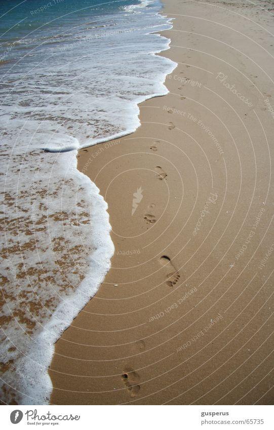 allein auf 1ner Insel Wasser Ferien & Urlaub & Reisen Meer Sommer Strand Einsamkeit ruhig Sand Wellen Spuren Erfrischung Brandung Flut Ebbe Rauschen