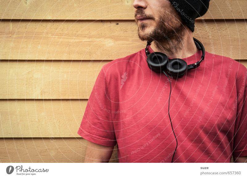 Ohrwurm zum Mitnehmen Mensch Jugendliche Mann schön rot Freude 18-30 Jahre Junger Mann gelb Erwachsene Wand Mauer Stil Mode Freizeit & Hobby Fassade