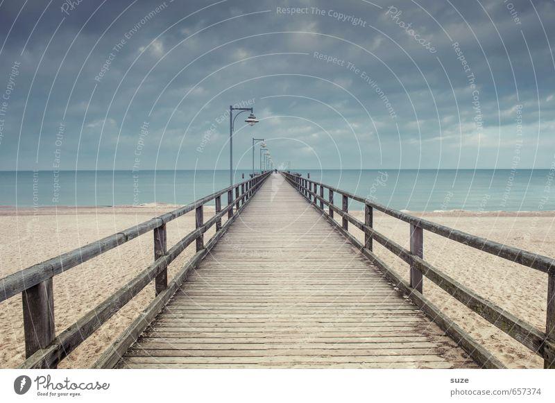 Dasselbe nur anders ruhig Strand Meer Umwelt Natur Landschaft Sand Himmel Wolken Horizont Klima Küste Ostsee Brücke Wege & Pfade Holz außergewöhnlich