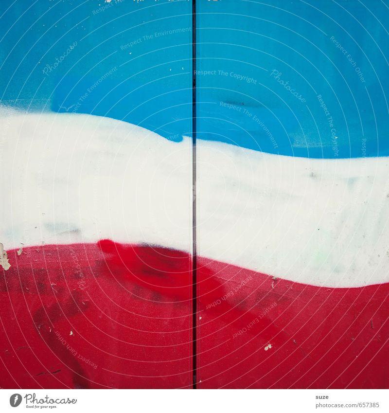 Fronkreisch Stil Design Mauer Wand Linie Streifen Fahne eckig einfach modern blau rot weiß Grafik u. Illustration Hintergrundbild Farbenspiel minimalistisch