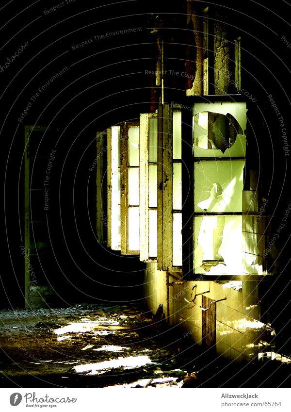 Licht ins Dunkel vernachlässigen Flur dunkel dreckig unbenutzt Unbewohnt Schatten trist unheimlich Fenster gebrochen zerschlagen offen Beleuchtung hell