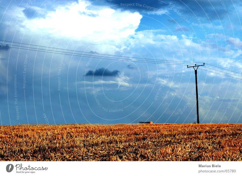 natur kontrast... Himmel blau Wolken Feld Elektrizität Ernte Korn Strommast Landwirtschaft