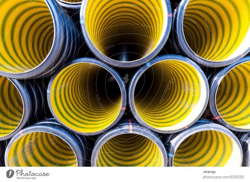 Kein Durchblick Industrie Baustelle Kunststoff bauen ästhetisch rund gelb Farbe Ordnung Perspektive Symmetrie Röhren Abflussrohr Farbfoto Außenaufnahme