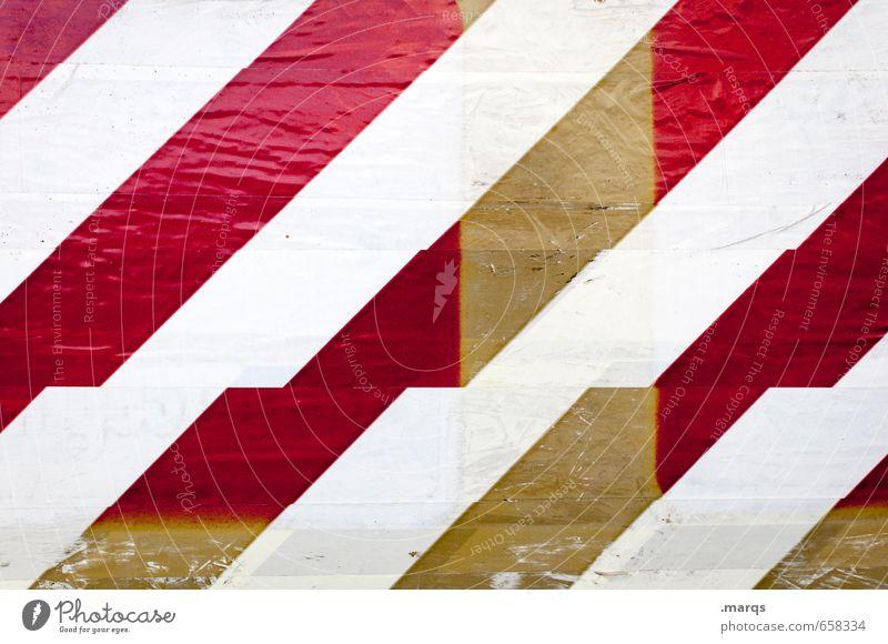 Markierung alt Farbe weiß rot gelb Stil Linie Hintergrundbild Design Schilder & Markierungen Streifen einzigartig Kunststoff
