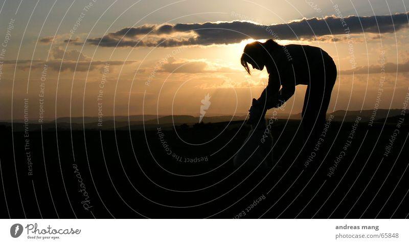 Forever Frau Sonne Wolken Hund Freundschaft Zusammensein Beleuchtung Horizont Abenddämmerung