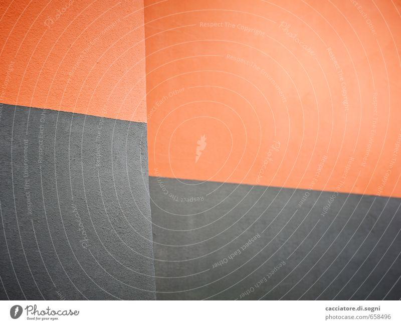 Bildstörung Stadt Farbe ruhig Wand Mauer grau Stein Linie Kunst Fassade orange Ordnung modern frisch Fröhlichkeit Warmherzigkeit